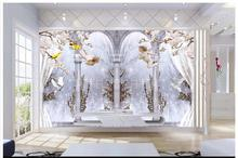 High-end custom 3d photo wallpaper murals wall paper Elegant angel Roman column pigeons 3D TV backdrop home decoration