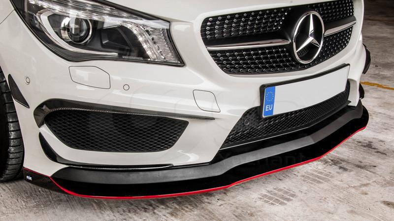 2013-2015 Mercedes Benz W117 C117 Revozport RZA 290 Style Front Bumper Canard CF (2)