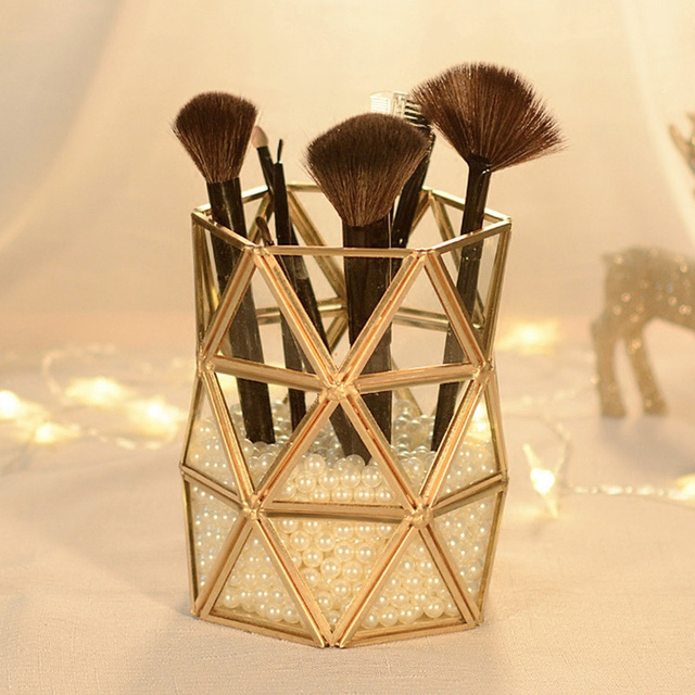 Gold bronze glass tube make-up makeup brush Beauty brush transparent  tube vintage brush bucket Home Decoration Storage Box