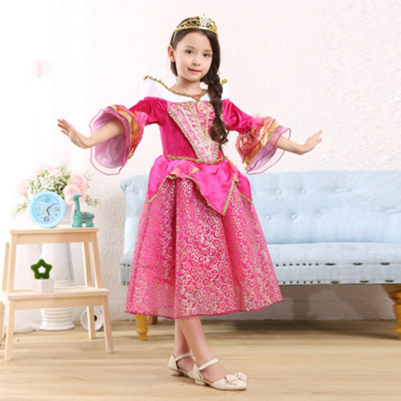 ФОТО Brand Princess Aurora Dress For Girls Halloween Costume Dresses Children Clothing Cosplay Dress Kids For Party Red Wholesale