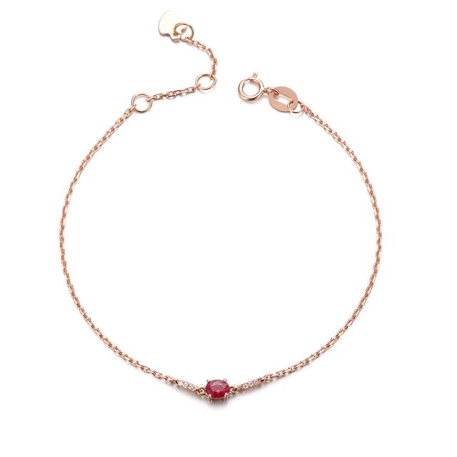 Robira Vintage Designer Natural Ruby Bracelets 18k Rose Gold Simple Charm Link Chain Diamond
