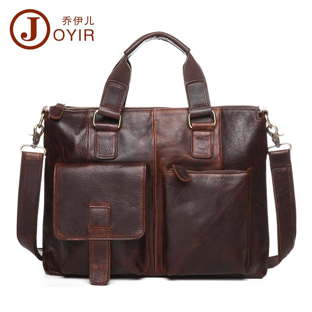 2017 JOYIR Genuine Leather Men Business Briefcase Laptop bag Casual Messenger Bags Handbags Shoulder Crossbody Bag Male Tote 260