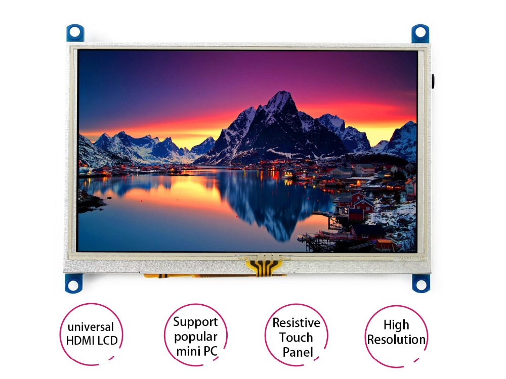 Waveshare 5inch HDMI LCD (G) Monitor Resistive Touch Screen LCD 800X480  High Resolution HDMI interface Supports Multi mini-PCs