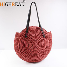 HIGHREAL New Round Straw Bag Beach Bag Woven Large Capacity Single Shoulder Hand Crochet Summer Girl Bag