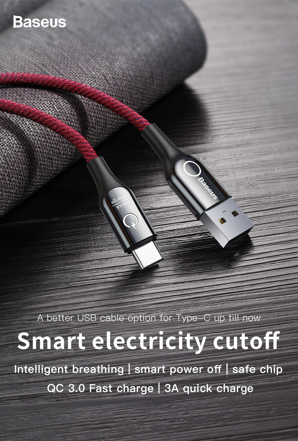 Baseus C-shaped Light Intelligent power-off Type C Cable Pakistan brandtech.pk