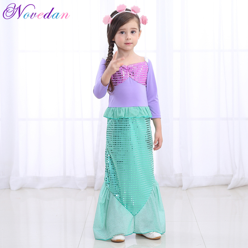 The Little Mermaid Ariel Dresses For Kids Princess Ariel Mermaid Costume Girls Carnival Purim Halloween Party Cosplay Costumes