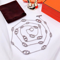 Luxury Brand Statement Long Necklace 119CM Charms Chain Pendant For Women High Fashion Jewelry Rose Gold Silver Color