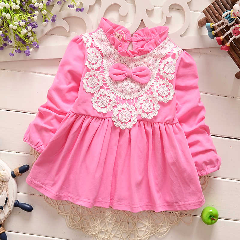 IENENS 2PC Cute Princess Dress For Girl Toddler Infant Girls Long Sleeves Lace Dresses + Vest Kids Baby Wedding Party Wear 0-2Y