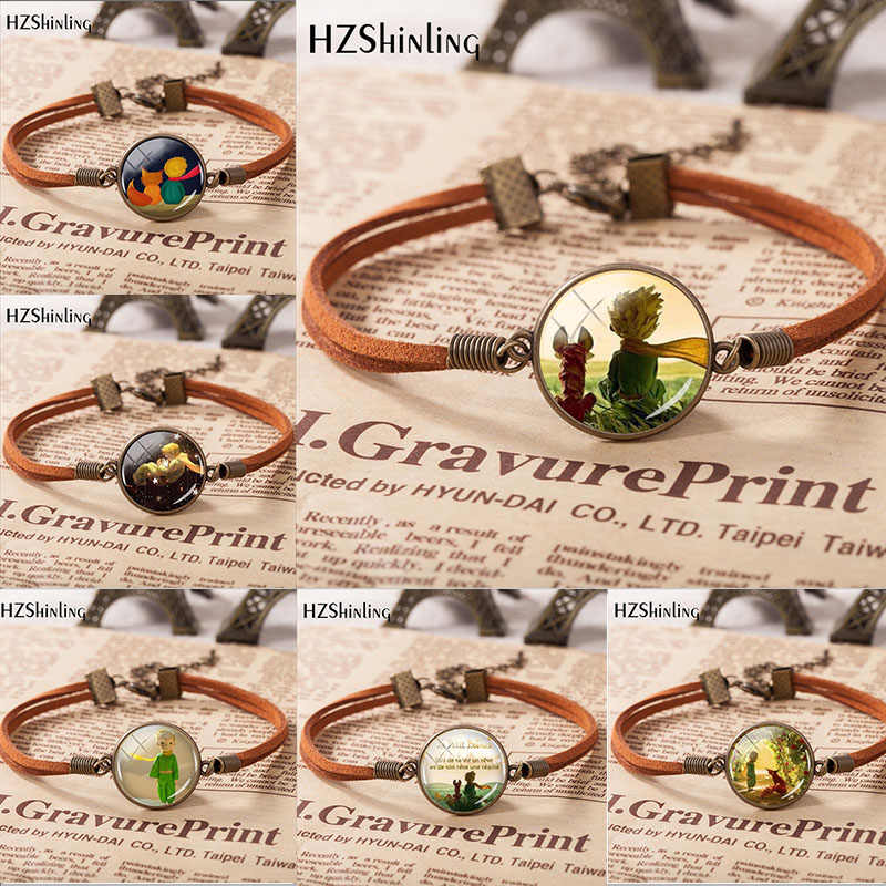 Hzshinling Hot Koop Fashion Little Prinsen Lederen Armband Hand Craft Glas Hanger Armband Heren Dames Mode-sieraden Gift