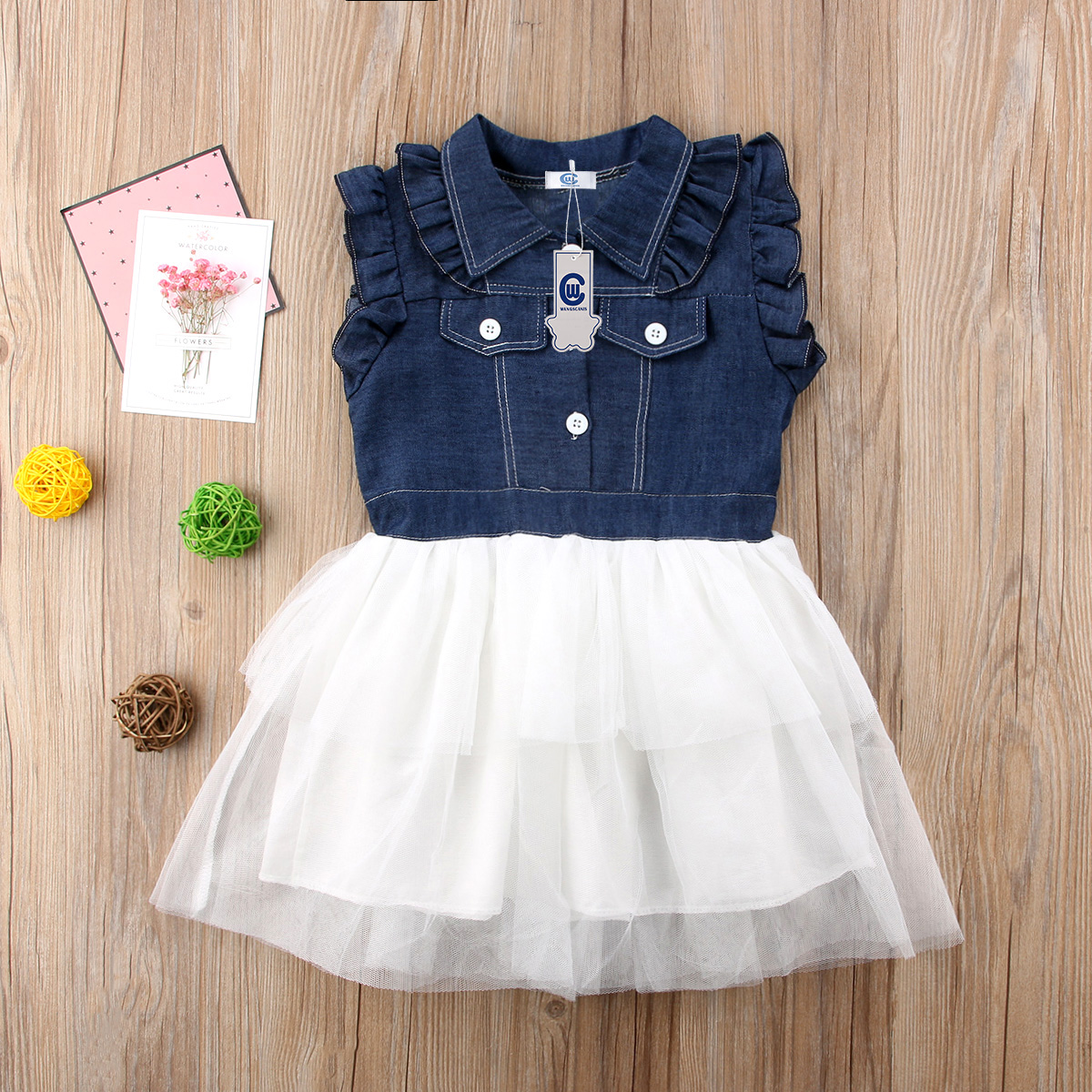 c953e29c45 Fashion New Princess Toddler Kid Baby Girls Summer Sleeveless Pocket  Buttons Denim Patchwork Tulle Tutu Formal Dress -in Dresses from Mother    Kids on ...