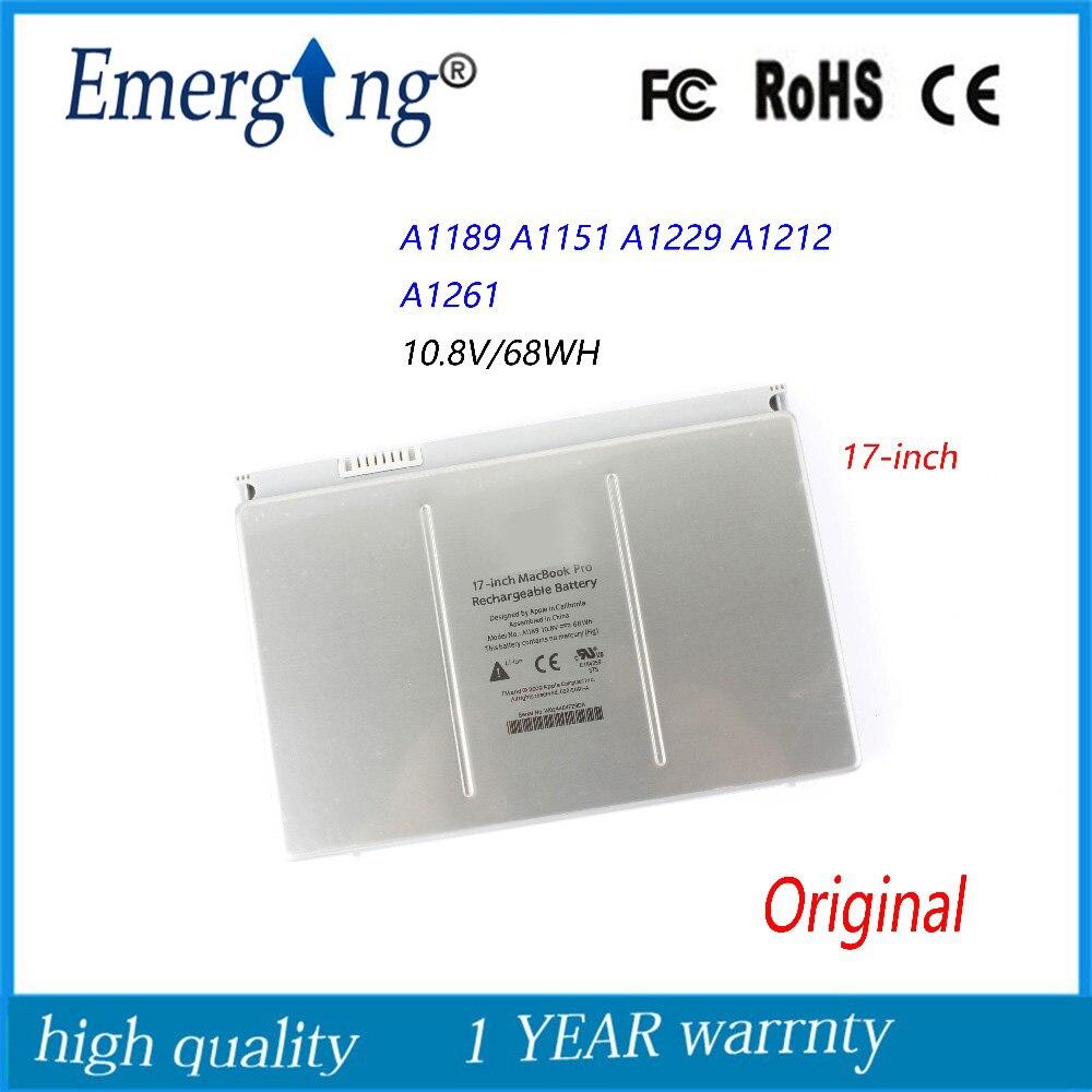 10.8 v 68WH Nouveau Original batterie d'ordinateur portable pour Apple Mac Pro 17 Pouces A1151 A1189 MA611 MA458 MB166