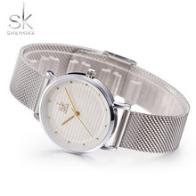 SK Mulheres Relógios Top Marca de Luxo Famoso relógio de Pulso de Aço Inoxidável Relógio de Quartzo Para O Relógio Feminino Montre Femme Relogio feminino
