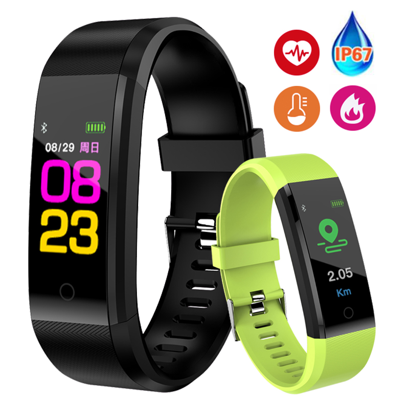Pulsera inteligente pulsera Fitness presión arterial Pedometer Sports Wristband Smart Watch hombres mujeres para IOS Android