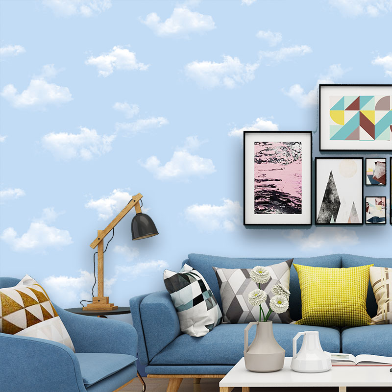 0.53x10Meter  Blue Sky White Cloud Pattern Nonwovens Wallpaper Princess Room kids Room Boy Bedroom Living Room  Wallpaper0.53x10Meter  Blue Sky White Cloud Pattern Nonwovens Wallpaper Princess Room kids Room Boy Bedroom Living Room  Wallpaper