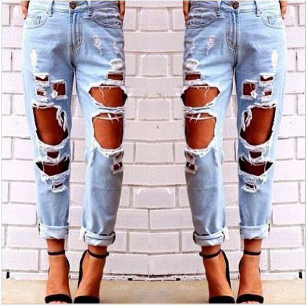 2017 Hole Ripped Jeans for Women Blue Denim Pants Boyfriend Jeans Casual Loose Straight Female Jeans