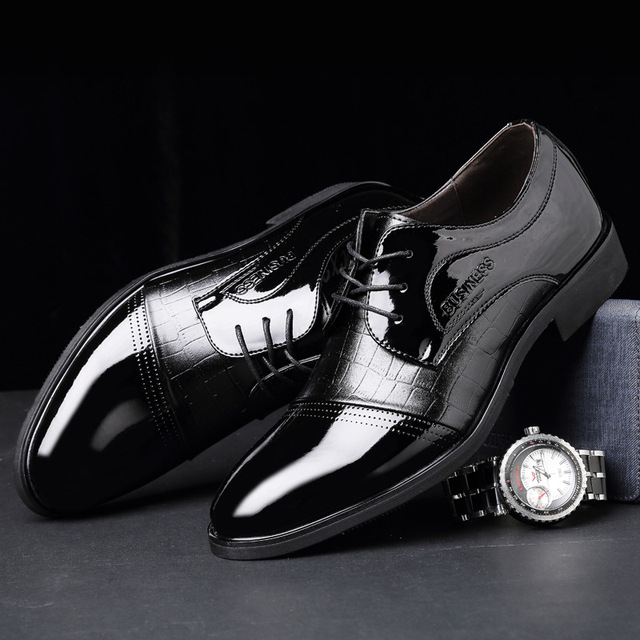 2017 New Breathable Men PU Leather Shoes Fashion Office Pointed Toe Lace UP Business Shoes Black Dress Shoes Men Shoes Oxfords