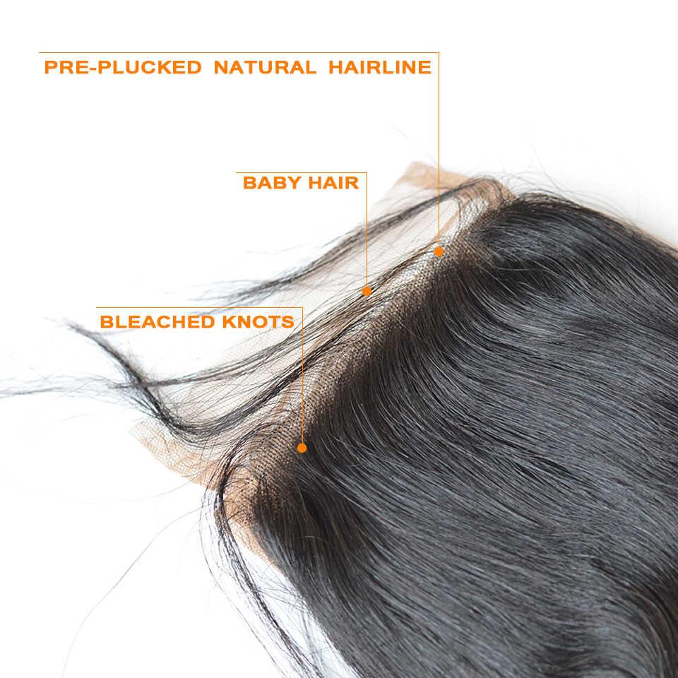 BAISI onda profunda peruana 5x5 Cierre de encaje suizo predesplumado cabello natural 100% cabello humano virgen