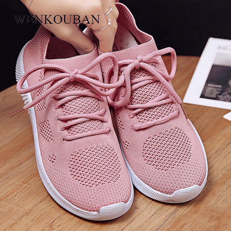 White Sneakers Women Vulcanize Shoes Summer Ladies Trainer Knitted Shoes Spring Flats Casual Lace-up Sock Shoes Zapatillas Mujer