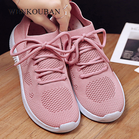White Sneakers Women Vulcanize Shoes Summer Ladies Trainer Knitted Shoes Spring Flats Casual Lace-up Sock Shoes Zapatillas Mujer Pakistan