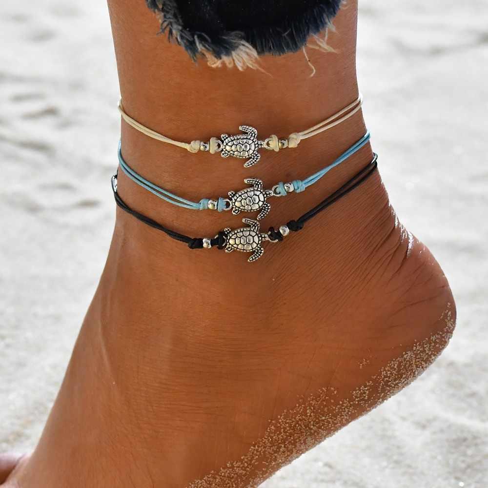 Huitan, богемные женские ножные браслеты, милые Подвески в виде черепах, цепочка для ног, с блестками, с кисточками, браслеты на запястье, оптовая продажа, много и оптом