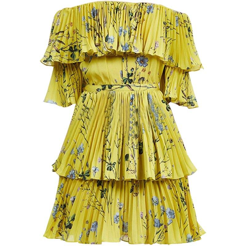 653d12ce83ba 2018 bohemian beach dress self portrait dress women off shoulder floral  printed short pleated chiffon dress -in Dresses from Women's Clothing on ...