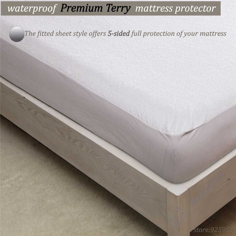 190x90cm luxuryTerry Cloth Mattress Cover 100% Waterproof of TPU Mattress Protector various skirt size A