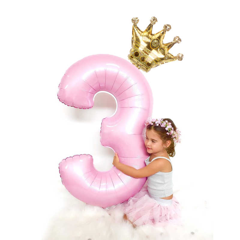 32 Inch Big Gold Silver Rose Gold Number Balloons rose Gold Silver 0-9 Birthday Wedding Engagement Party Decor crown Digit