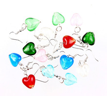 Wholesale Lots 6pairs Hand-made Women's Romatic Silver Plated Elegant Classic Dangle Heart Murano Glass Earrings HOT