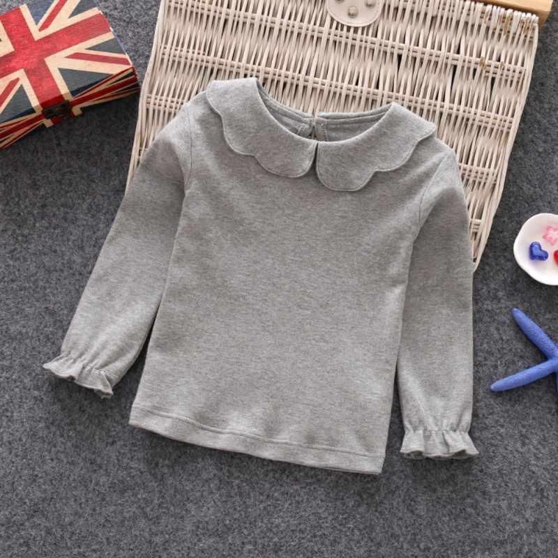 תינוק בנות חולצות ארוך שרוול חולצה כותנה מזדמן נסיכת פעוט מוצק חולצות חולצה