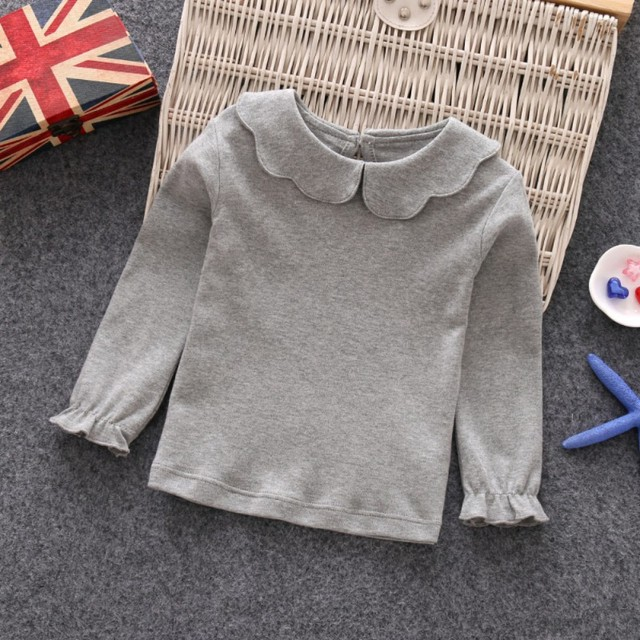 Baby Girls T-Shirts Long Sleeve T-shirt Cotton Casual Princess Toddler Solid Tops Blouse 2