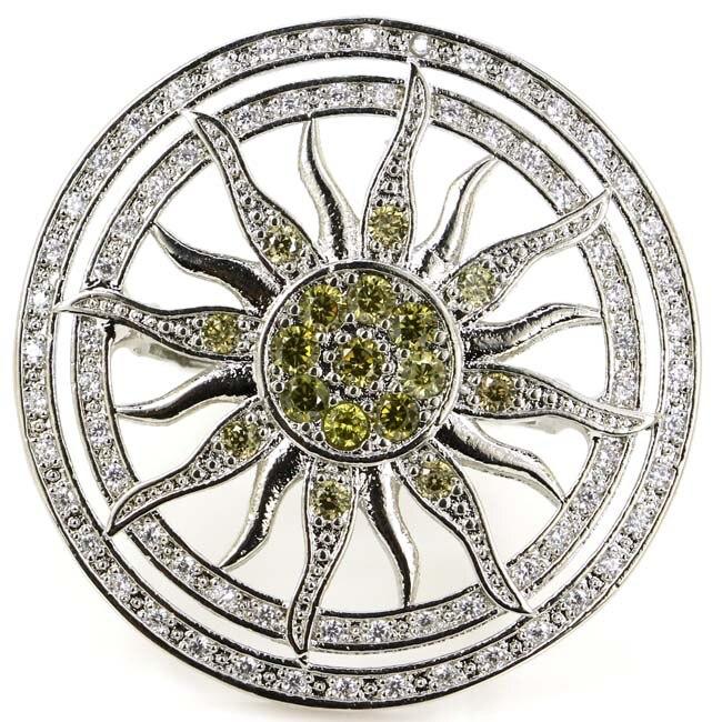 US sz 7.75# Beautiful Sun Shape Green Peridot Lady's Party,CZ 925 Silver Ring 36x36mm