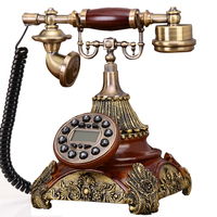 Europe style landline telephone vintage home phone antique court telephone made of resin claret phone retro telephones