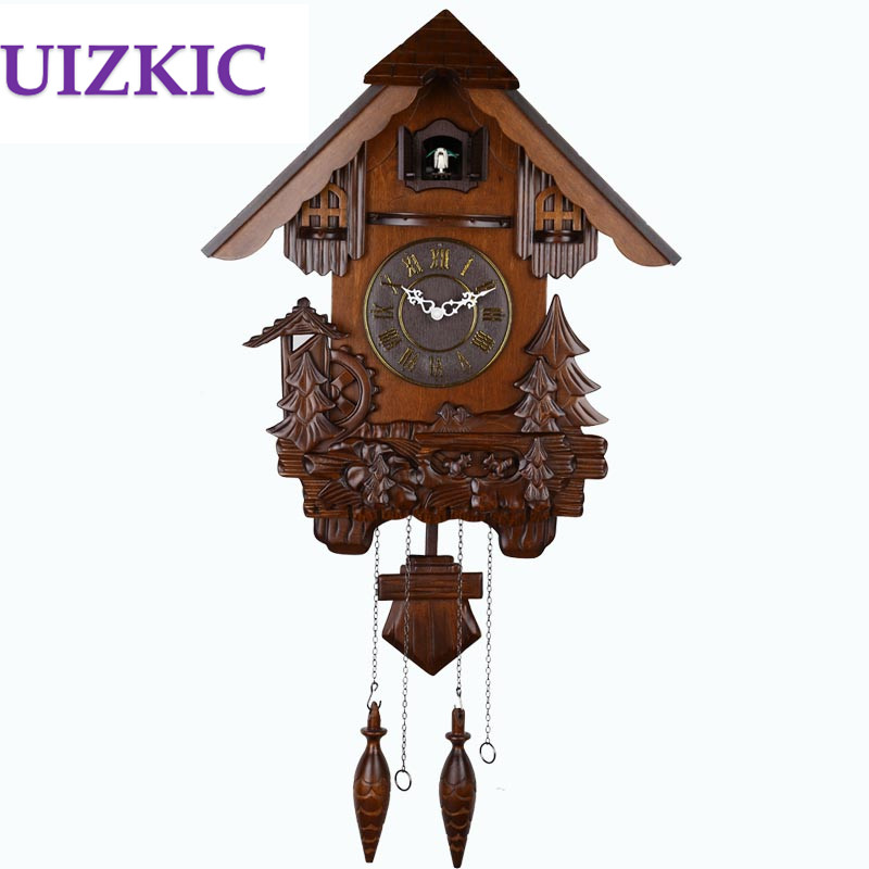 Large fashion vintage wall modern design wooden cuckoo clock carving photo switchable timekeeping children room kids gifts