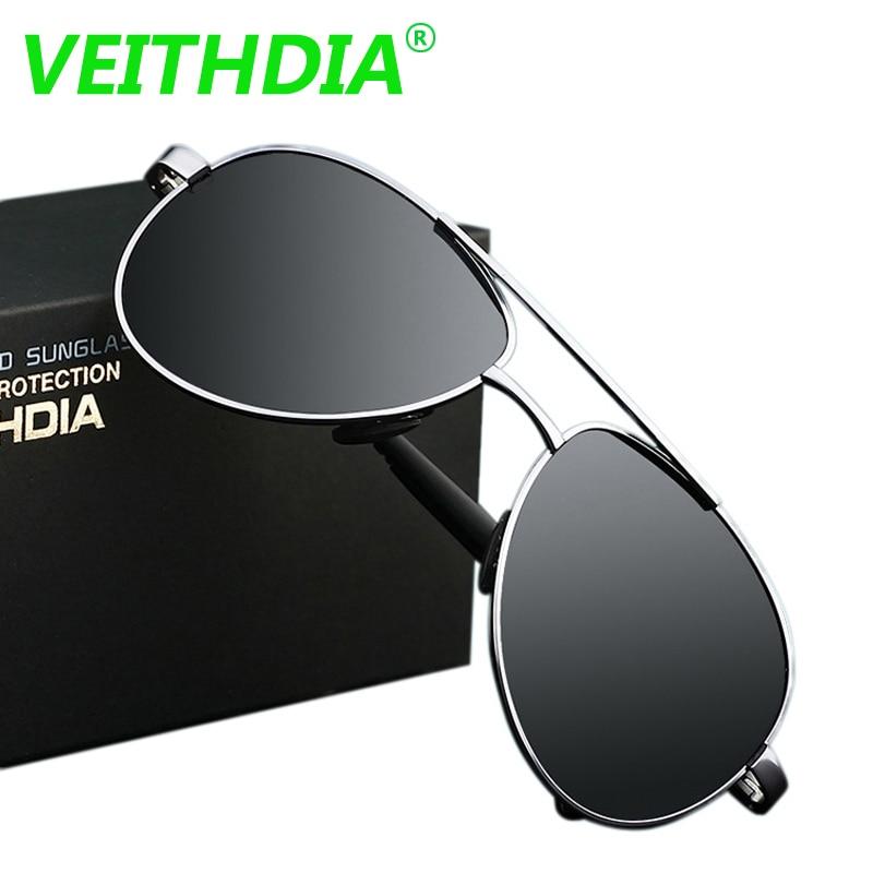 2017 VEITHDIA UV400 Pilot Yurt Sun Glasses Men Polarized Sunglasses Brand Logo Design Driving Glasses Goggles Oculos de sol 1306