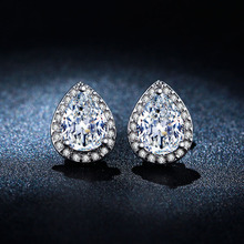 Shine Water Drop Simulated Diamond Earring Brincos White Gold Plated Stud Earrings For Women Best Gift CC Fashion Jewelry E051