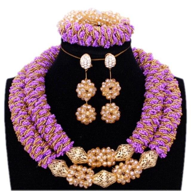 Bridal Jewelry Set Earrings Necklace Bracelets Purple and Gold Balls bold 2 Layers Nigerian Wedding Beads Free Ship Jewellery
