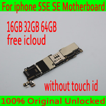 Для iphone SE материнская плата без Touch ID, 100% оригинал разблокирована для iphone 5SE SE материнская плата бесплатная iCloud, с системой IOS