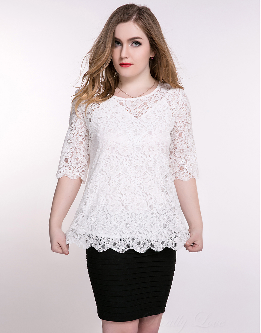 218c1cf84c48c Womens Plus Size White Lace Tops