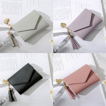 wallet new fashion Women Simple Short Tassel Coin Purse Wallet Card Holders Handbag female famous