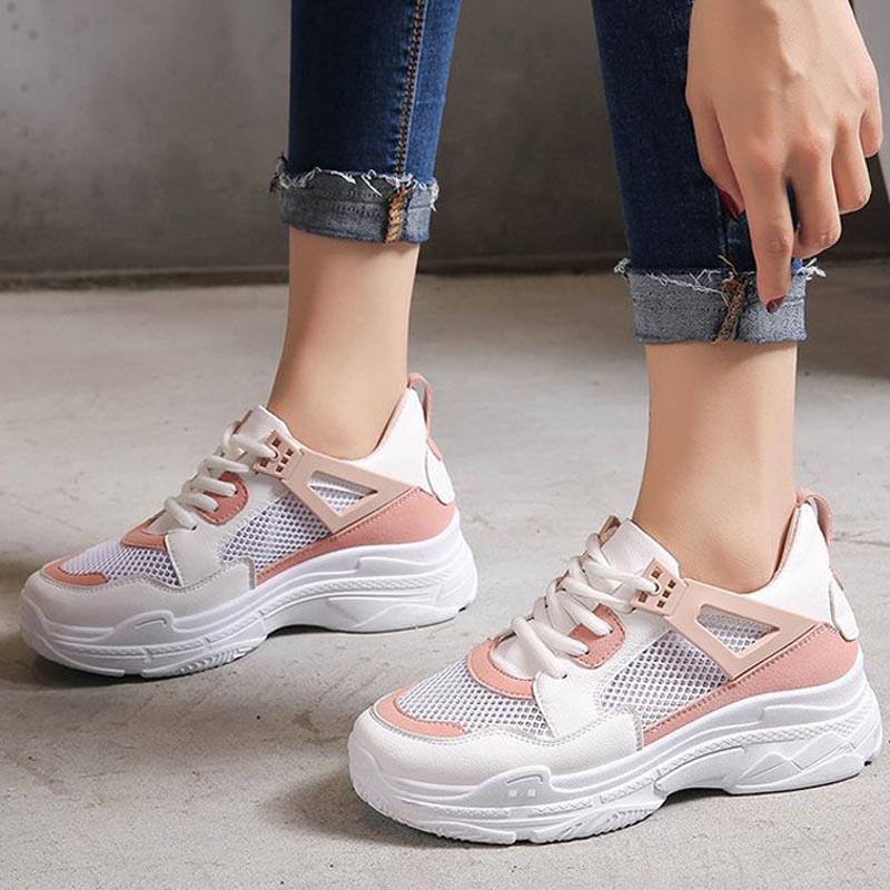 2018 Frauen Mesh Plattform Lace Up Herbst Vulkanisierte Weibliche Mode Dicken Boden Atmungsaktive Schuhe Damen Freizeit Schuhe Um 50 Prozent Reduziert