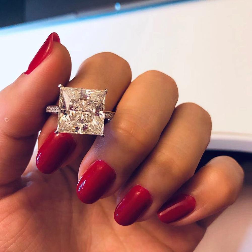 OneRain 100% Plata de Ley 925 cuadrado Moissanite diamantes piedras preciosas compromiso boda pareja anillos Joyería Al por mayor tamaño 5 12-in Anillos from Joyería y accesorios    3