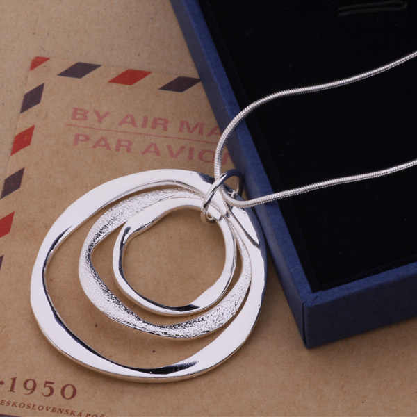 Pure Silver 925 Necklace for Women Fashion Jewelry Accessories Round Circles Necklaces&Pendants Female Collier Christmas Gifts