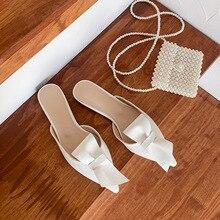 Sandales à nœuds plats pointus pour femmes, usure dété, demi sandales pour Baotou, nouvelle mode, 2019