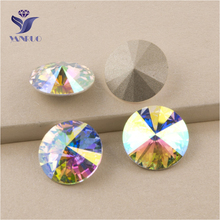 YANRUO #1122 All Sizes AB Rivoli Glass Stones Crystal Strass Fancy Rhinestone Pointback Setting For Clothing