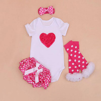 4PCs per Set Newborn Red Love Baby Girls Clothes Hot Pink Polka Dots Satin Shorts Headband Leggings for 0 24Months