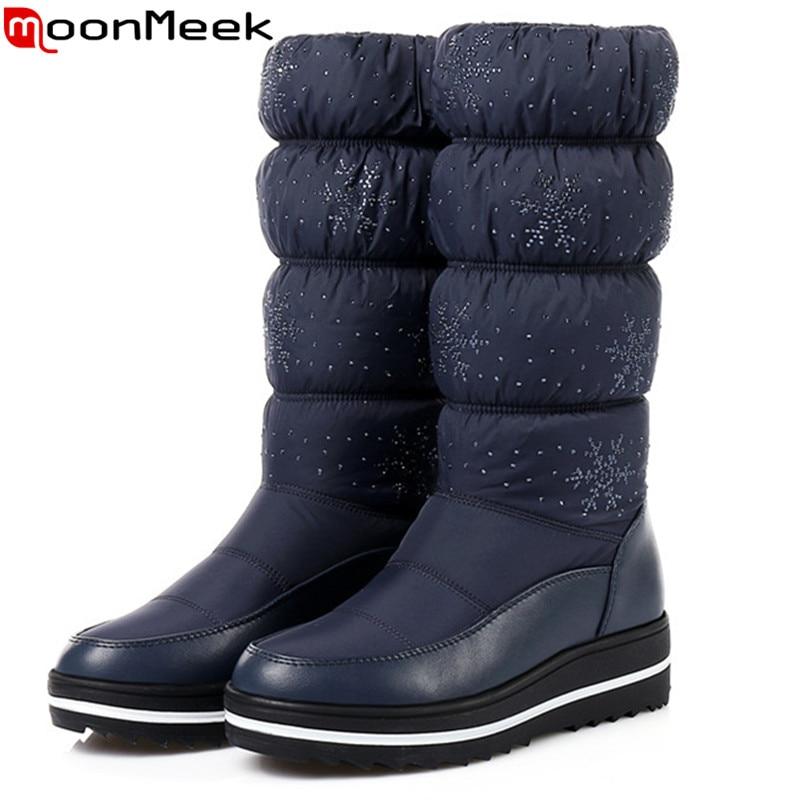 MoonMeek fashion new women boots platform snow boots black bule high quality winter Down waterproof Keep warm mid calf boots platform bowkont flocking snow boots