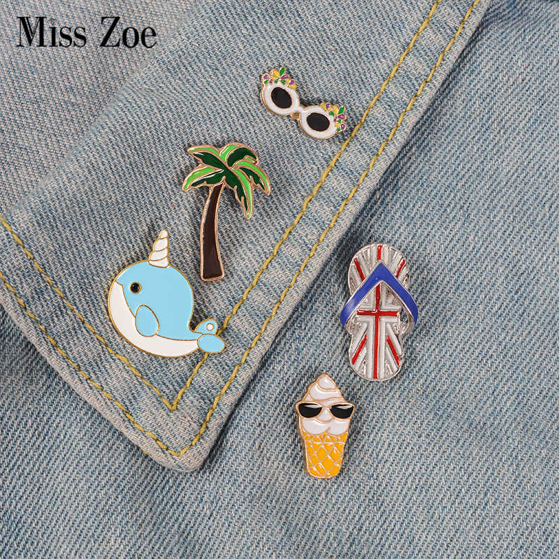 Beach life enamel pin Tree ice cream narwhal badge brooch Lapel pin for Denim Jean shirt bag Cartoon Jewelry Gift for women kids