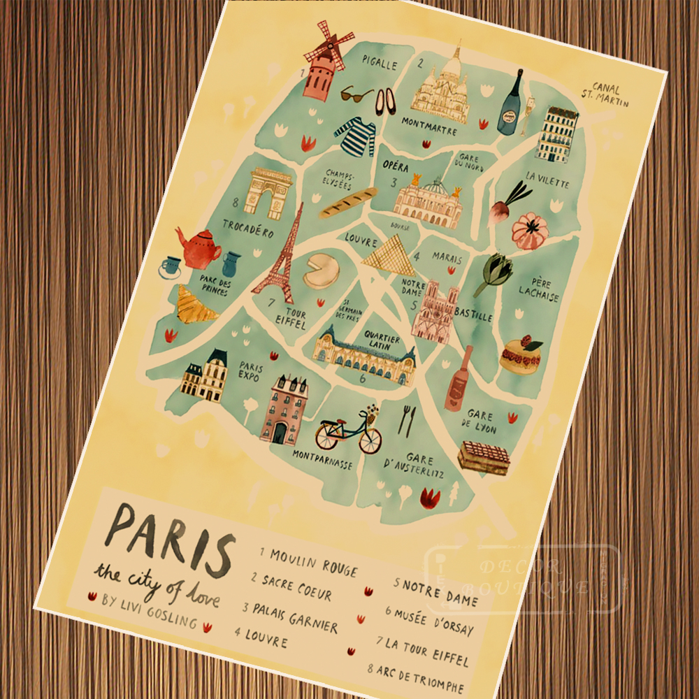 Limited Edition HD Print Customizable Paris City Line Drawing Art ...
