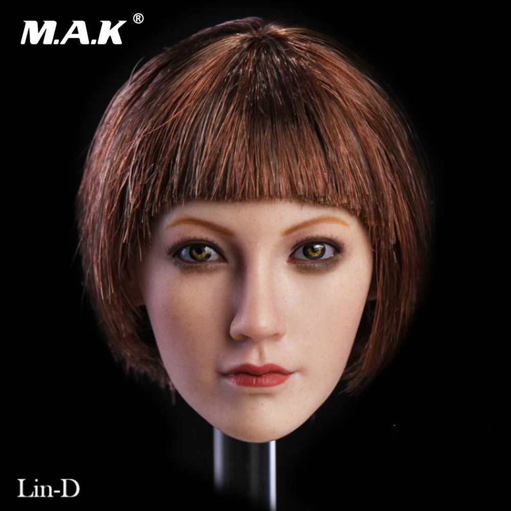 1:6 Scale Girl Head Sculpt Lin with Short Hair Brown Eyes for 12'' Suntan PHICEN TBLeague Female Action Figure Body Accessory 1 6 scale asian female head sculpt with black long hair models toys for 12 female action figure