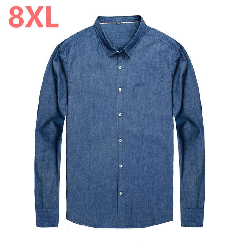 2018 New 8Xl 6Xl 5Xl Men Denim Shirt Long Sleeves Camisa Masculina Dress Shirt Men Fashion Camisa Denim Hombre Jeans Shirt